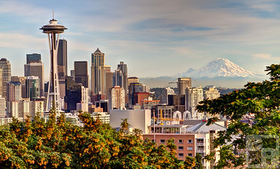 Seattle skyline and Mount Ranier