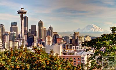 Seattle skyline and Mount Ranier