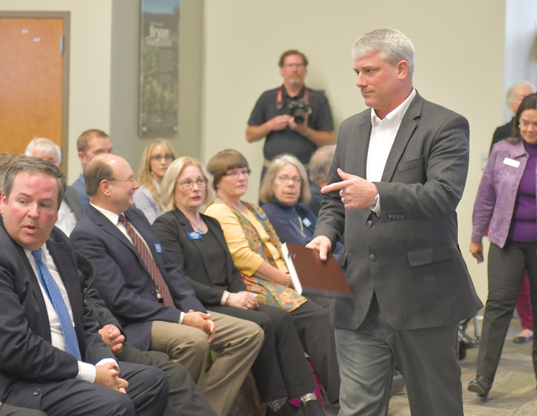 Ryan Patterson | The Sheridan Press<br /> Sheridan mayor Roger Miller looks for a seat before an update about the Sheridan Economic and Educational Development Authority at Sheridan College Tuesday, April 16, 2019.