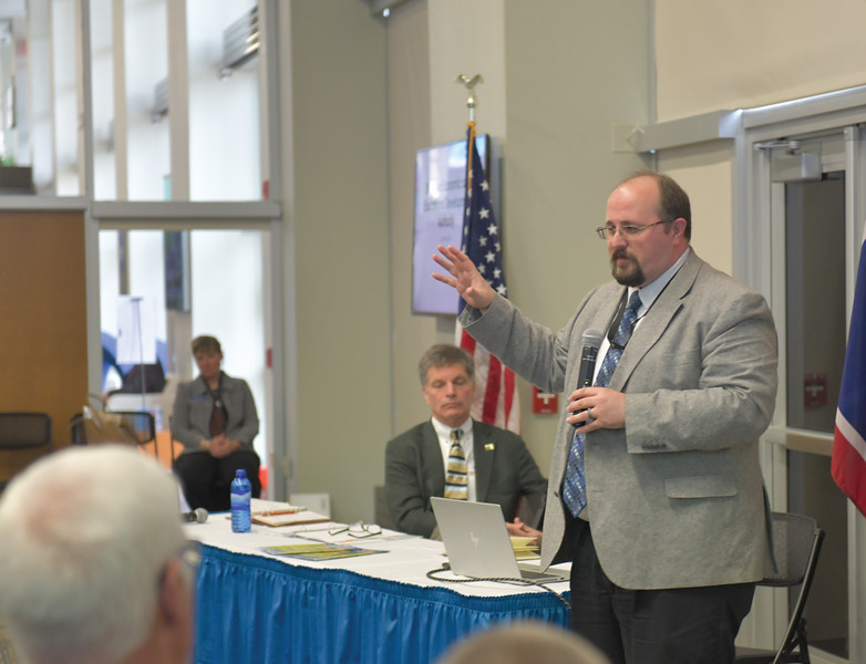 Ryan Patterson | The Sheridan Press<br /> Sheridan Economic and Educational Development Authority administrator Robert Briggs speaks during an update on SEEDA at Sheridan College Tuesday, April 16, 2019.