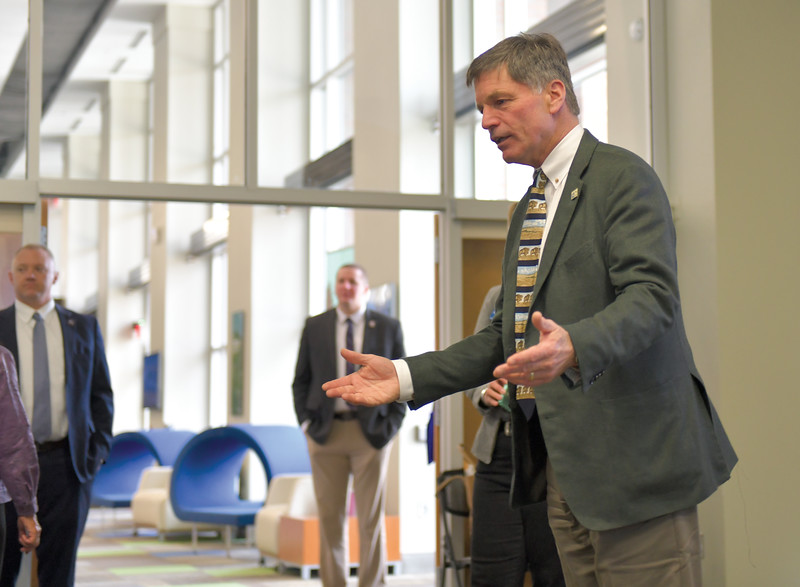 Ryan Patterson | The Sheridan Press<br /> Wyoming Gov. Mark Gordon talks with audience members before an update on the Sheridan Economic and Educational Development Authority at Sheridan College Tuesday, April 16, 2019.
