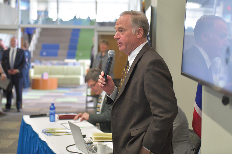 Ryan Patterson | The Sheridan Press<br /> Sen. Dave Kinskey, R-Sheridan, speaks during an update about the Sheridan Economic and Educational Development Authority at Sheridan College Tuesday, April 16, 2019. Kinskey introduced Wyoming Gov. Mark Gordon and facilitated a question and answer session.