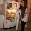 Tanya and refrigerator.