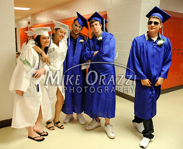 6/18/2010 Mike Orazzi | Staff Southington High School students before Friday evening's graduation ceremony.