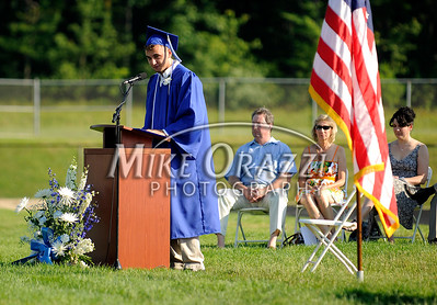 6/18/2010 Mike Orazzi | Staff Southington High School class president Valon Kica  at Friday evening's graduation ceremony.