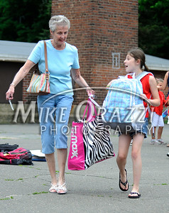 6/16/2010 Mike Orazzi | Staff Bingham School student Christine Libby and her grandmother Lanny Libbey on the last day of classes for the Clarence A. Bingham school.