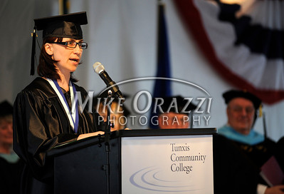 6/1/2011 Mike Orazzi | Staff Tunxis Community College Salutatorian Anna Karpiej of Newington during Wednesday night's graduation ceremony.