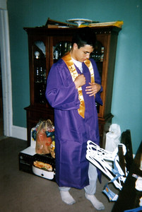 Cory trying on his gown