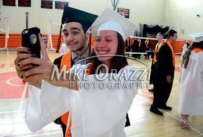6/18/2014 Mike Orazzi | Staff Terryville High School graduates Colin Boucher and Karolina Hawrylo before the start of Wednesday night's graduation ceremony at THS.