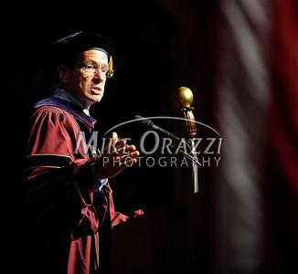 5/17/2014 Mike Orazzi | Staff Governor Dannel P. Malloy during Saturday's CCSU graduation ceremony at the XL Center in Hartford.