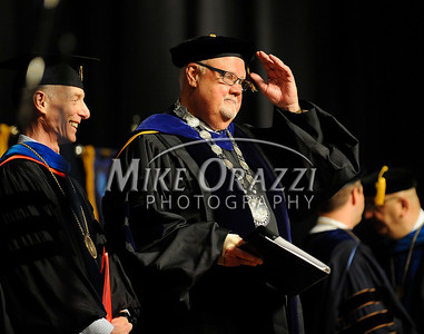 5/17/2014 Mike Orazzi | Staff CCSU President Jack Miller during the graduation ceremony at the XL Center in Hartford Saturday.