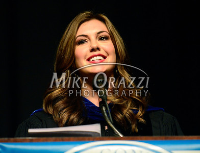 5/17/2014 Mike Orazzi | Staff Miss USA Erin Brady, a CCSU 2010 graduate, gives the commencement address during Saturday's graduation ceremony at the XL Center in Hartfo
