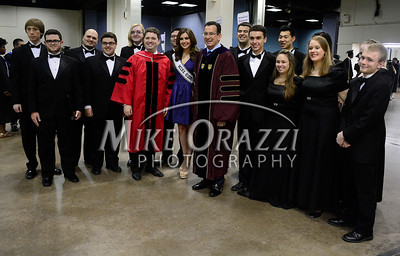 5/17/2014 Mike Orazzi | Staff Governor Dannel P. Malloy lines up with the University Singers and Miss USA Erin Brady during Saturday's graduation ceremony at the XL Center in Hartford.