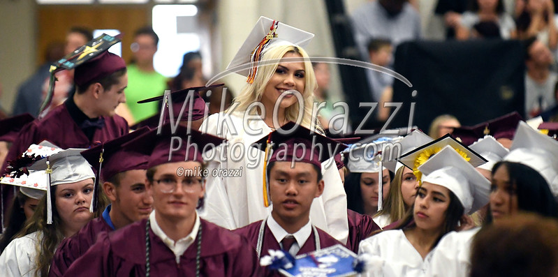 6/21/2017 Mike Orazzi | Staff<br /> Bristol Central High graduate Precious Diaz smiles at family members during Wednesday night's ceremony in Bristol.
