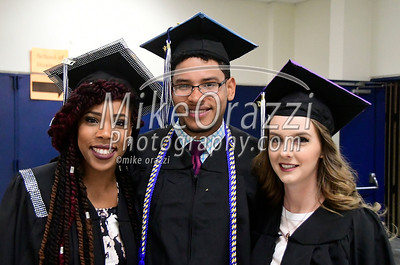 5/20/2017 Mike Orazzi | Staff Tajah Ramsey, Richard Torres and Victoria Massey while at CCSU's graduation Saturday morning at the XL Center in Hartford.