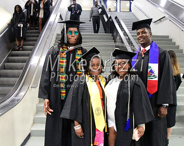 5/20/2017 Mike Orazzi | Staff Malcolm Simmons, Kamaya Bell, Stephanie Fluker and Moise Bence while at CCSU's graduation Saturday morning at the XL Center in Hartford.
