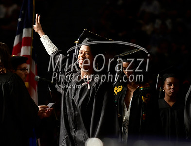 5/20/2017 Mike Orazzi | Staff Jazmine Oliver-Wilson walks on stage at the the XL Center in Hartford for CCSU's graduation Saturday morning.