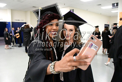 5/20/2017 Mike Orazzi | Staff Tajah Ramsey and Victoria Massey while at CCSU's graduation Saturday morning at the XL Center in Hartford.