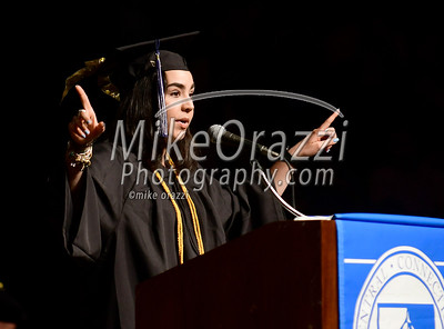 5/20/2017 Mike Orazzi | Staff Class president Erica Ostrawski at the the XL Center in Hartford for CCSU's graduation Saturday morning.