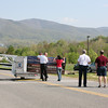 Elliston Volunteer Fire Department Grand Opening -  Smoke from the fire on Wathall Street can be seen in the background.