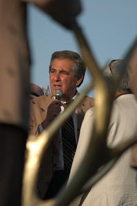Mayor Jerry Abramson, framed in the Golden Antlers trophy