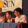 Greater Lowell Regional Knowledge Bowl finals at Tyngsborough High School. Tewksbury's Wynn Middle School team members, from left, David Penney, Johnny Baker, Jayden Donaher and Morgan Crowley. (SUN/Julia Malakie)