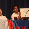 Greater Lowell Regional Knowledge Bowl finals at Tyngsborough High School. Tewksbury Wynn Middle School team members, from left, Peter Impink, Sarah Johansen, Harshit Pal and Morgan Crowley, correctly answer a question in the Current Events round. (SUN/Julia Malakie)