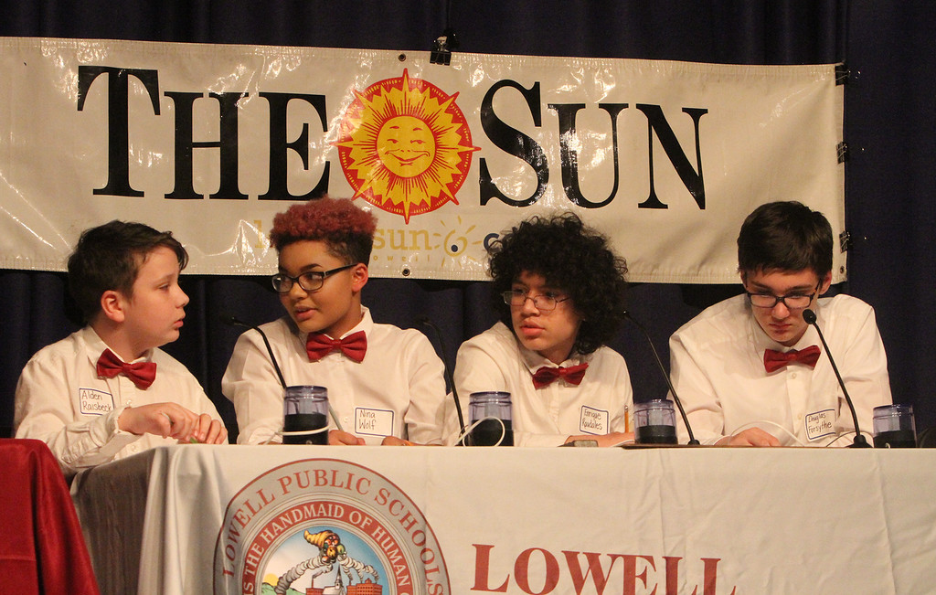 . Greater Lowell Regional Knowledge Bowl finals at Tyngsborough High School. Lowell team members, from left: Alden Raisbeck, Nina Wolf, Enrique Raudales and Douglas Forsythe.  (SUN/Julia Malakie)