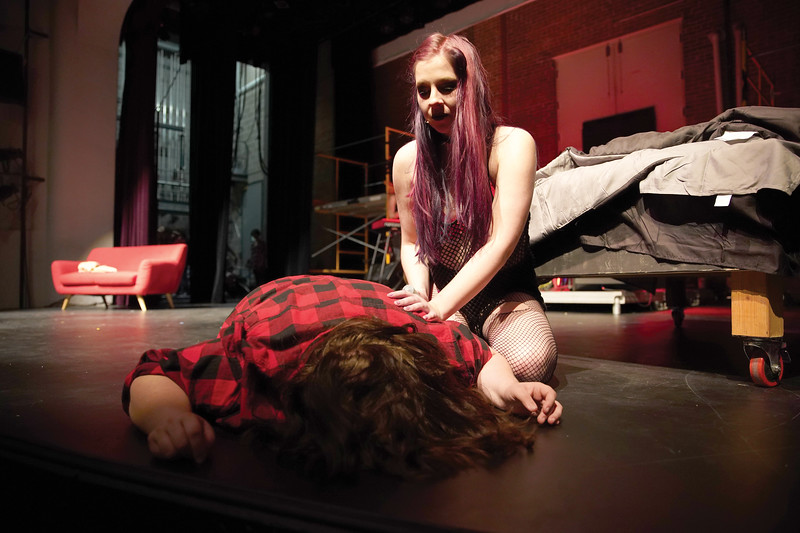 "Matthew Gaston | The Sheridan Press<br>Whatsername, played by Emmy Winter, reacts to finding Johnny, played by Brooklyn Nowack, face down after overdosing during the dress rehearsal for ""Green Day's American Idiot"" Tuesday, Nov. 12, 2019."