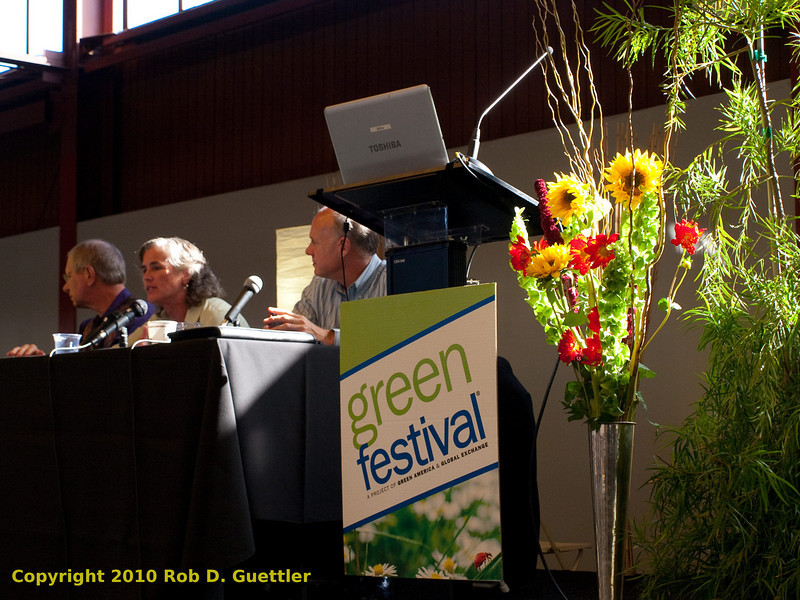 Steve Schueth (First<br /> Affirmative Financial<br /> Network), Lincoln Pain (Effective<br /> Assets), Kat Taylor (OneCalifornia Bank) during Invest to Change the World presentation, Bright Green Lifestyle Stage. Green Festival 2010, Concourse Exhibition Center, 635 8th St. (at Brannan), San Francisco, California.