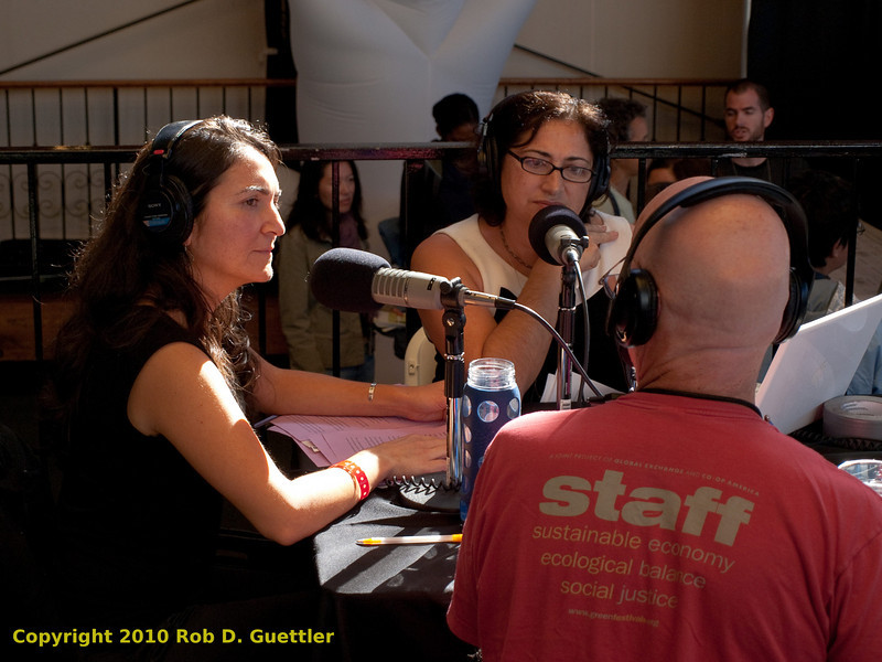 Rose Aguilar, Malihe Razazan and Kevin Danaher (founder Global Exchange and Green Festival) KALW live broadcast. Green Festival 2010, Concourse Exhibition Center, 635 8th St. (at Brannan), San Francisco, California.