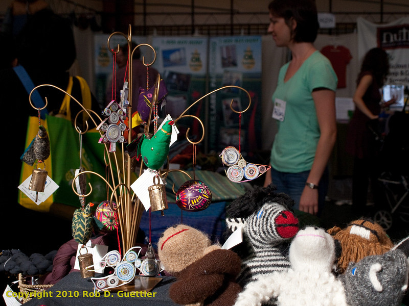 Ornaments and stuffed animals in Global Exchange Store. Green Festival 2010, Concourse Exhibition Center, 635 8th St. (at Brannan), San Francisco, California.