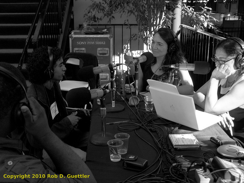 Rose Aguilar and Malihe Razazan interviewing Adarsha Shivakumar during KALW live broadcast. Green Festival 2010, Concourse Exhibition Center, 635 8th St. (at Brannan), San Francisco, California.