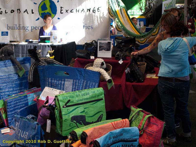 Bags and banner in Global Exchange Store. Green Festival 2010, Concourse Exhibition Center, 635 8th St. (at Brannan), San Francisco, California.