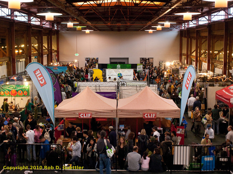 Clif Bar booth and center of exhibition space. Green Festival 2010, Concourse Exhibition Center, 635 8th St. (at Brannan), San Francisco, California.