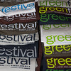 Green Festival t-shirt stack in Festival Store. San Francisco Green Festival 2009, Concourse Exhibition Center, 635-8th St., San Francisco, California.