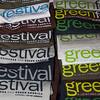 Green Festival t-shirt stack in Festival Store. San Francisco Green Festival 2009, Concourse Exhibition Center, 635-8th St., San Francisco, California.