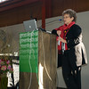 Denise Hamler, Director, Green Festival and Green America Business Network,  introducing Bryan Welch on Mezzanine Stage. San Francisco Green Festival 2009, Concourse Exhibition Center, 635-8th St., San Francisco, California.
