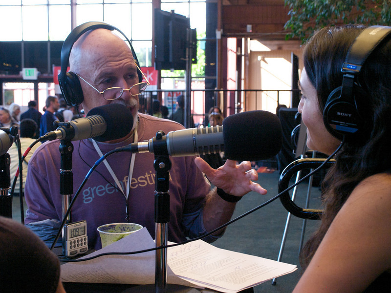 Kevin Danaher, cofounder Global Exchange, with Rose Aguilar on KALW 91.7. San Francisco Green Festival 2009, Concourse Exhibition Center, 635-8th St., San Francisco, California.
