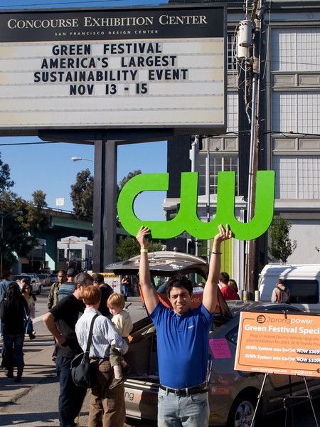 CW promotion outside 8th St. entrance. San Francisco Green Festival 2009, Concourse Exhibition Center, 635-8th St., San Francisco, California.