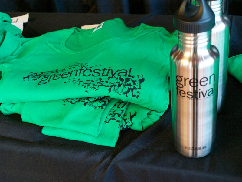 Green Festival t-shirts and water bottles in lobby Green Festival Store.  San Francisco Green Festival 2009, Concourse Exhibition Center, 635-8th St., San Francisco, California.