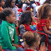 Children watching presentation in Organic Valley Kids' Zone. San Francisco Green Festival 2009, Concourse Exhibition Center, 635-8th St., San Francisco, California.