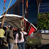 Green Building Pavilion with solar-powered hydroponic display. San Francisco Green Festival 2009, Concourse Exhibition Center, 635-8th St., San Francisco, California.