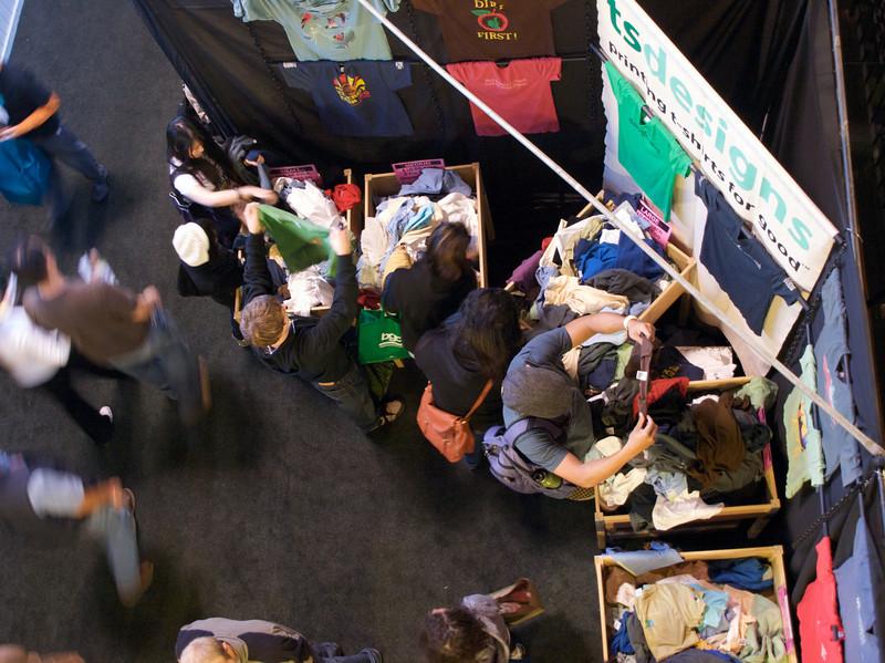 TS Designs t-shirt booth. San Francisco Green Festival 2009, Concourse Exhibition Center, 635-8th St., San Francisco, California.