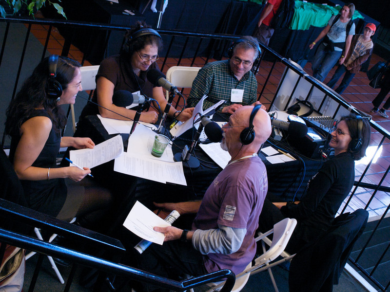 Rose Aguilar, Kevin Danaher and KALW staff at KALW 91.7 broadcast table. San Francisco Green Festival 2009, Concourse Exhibition Center, 635-8th St., San Francisco, California.