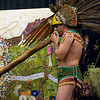 "Mayan Hom Tah (""Mayan Trumpet"") player from Calpulli Tonalehqueh during Opening ceremony on Main Stage. San Francisco Green Festival 2009, Concourse Exhibition Center, 635-8th St., San Francisco, California."