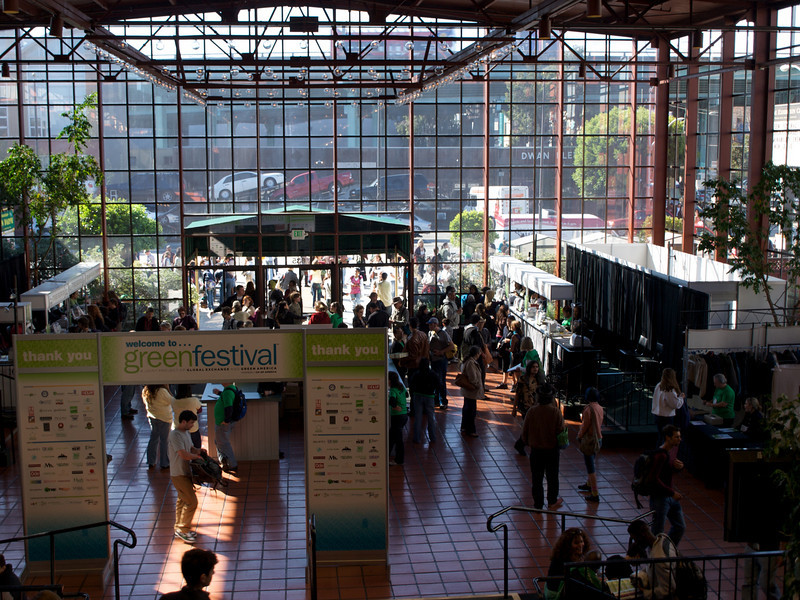 Eighth St. entrance, lobby and registration area. San Francisco Green Festival 2009, Concourse Exhibition Center, 635-8th St., San Francisco, California.