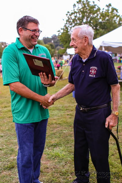 Greenwich Townhip Mayor Joseph Taurriello (L) congratulates 2012 Honoree Gordon Kobler at the Greenwich Township Community Day 2012. Express-Times photo by | DAVE DABOUR