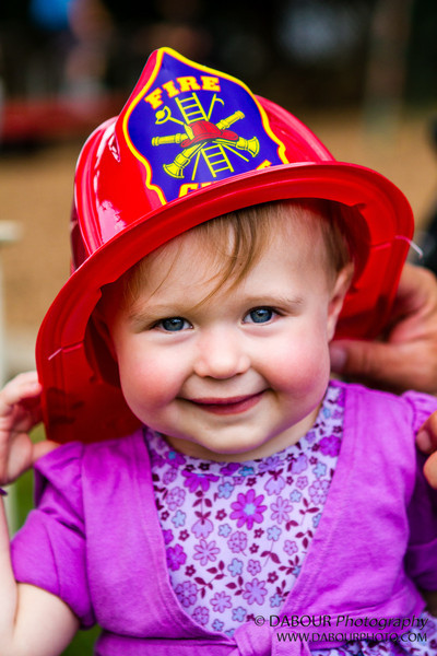 Devin models with her Fire Chief hat at the Greenwich Township Community Day 2012