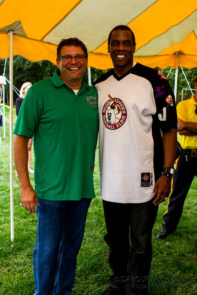 """Greenwich Townhip Mayor Joseph Taurriello and Dwight """"Doc"""" Goodwn, former NY Yankee & Mets Pitcher stops by Greenwich Township Community Day 2012"""